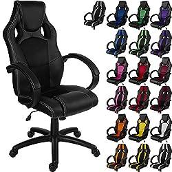 RACEMASTER® Racing Bürostuhl GS Serie-Schreibtisch Stuhl in 10Farben erhältlich-SGS Zertifiziert Gas Lift-Gaming Stuhl mit Wippmechanik All Black