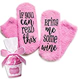 Comius Socken Bring Mir Wein, Luxus-Wein-Socken mitIf You Can Read This Bring Me Some Wine mit mit Muffin-Geschenk-Verpackung Geschenke für Frauen