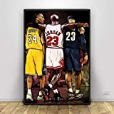 Kobe Bryant Michael Jordan Lebron James Poster Basket-Ball Pop Art - (Format : Portrait) - Affiche Toile