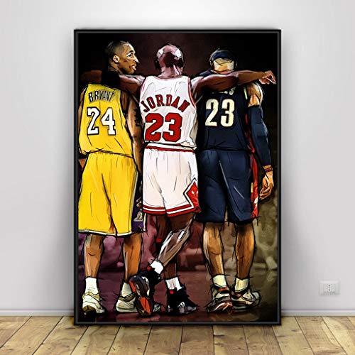 Kobe Bryant Michael Jordan Lebron James Poster Baloncesto