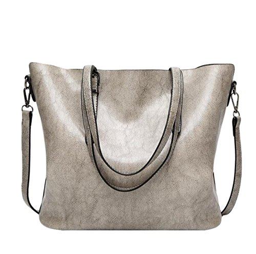Damen Damen Pfanne Öl Wachs Leder Messenger Tasche Schultertasche Handtasche Reißverschluss Grey