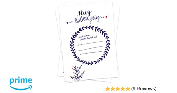 Ballonflugkarten Hochzeit Luftballonkarten  Ballonkarten Postkarten Herz Blau
