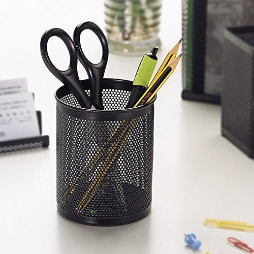 cdet 1x Stifteköcher rund schwarz Metall Mesh Pen Pot Make-up Box Container Schreibtisch Tidy Home Office Supplies Geburtstag Geschenk - 2