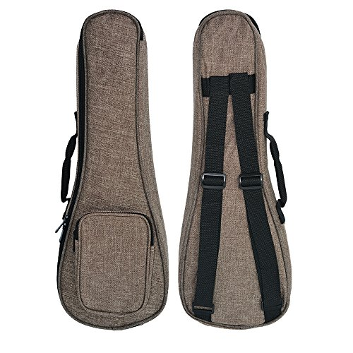 zealux® einfachen Stil Verstellbarer Schultergurt 10mm Schwamm Fill Ukulele Fall Tasche & Ukulele Fall 26 in braun (Zoll Rucksack 26)