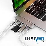 CharJenPro MacSTICK Adaptateur / Hub pour Apple Macbook Pro 2016 et 2017 - 40 Go / S Thunderbolt 3 ports 5K @ 60Hz, port de données USB-C, 2 USB 3.0, lecteurs SD et Micro SD (Argent)