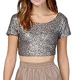 Frauen Sommer Beiläufig Pailletten rückenfrei Bling-Bling Oberseiten Bluse Hemd Blusen Tuniken Lässige kurz Tank Tops T-Shirt XS Splitter