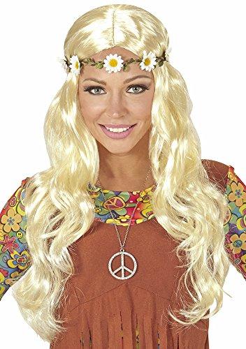 Langhaar Perücke Maike mit Blumen Haarband Blond - Wunderschöne Damen Perücke für Mittelalter oder Hippie Kostüme an Karneval, Festival oder Mottoparty