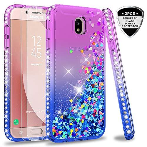 LeYi Hülle Galaxy J7 2017 Glitzer Handyhülle mit Panzerglas Schutzfolie(2 Stück),Cover Diamond Bumper Schutzhülle für Case Samsung J7 2017 Pro Duos SM-J730 Handy Hüllen ZX Gradient Purple Blue