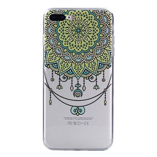 Cozy Hut iPhone 7 Plus / 8 Plus Hülle, Silikon Anti-gelb TPU Hochwertigem Stoßfest, Anti-Fingerabdruck, Anti-Scratch Hülle Crystal Clear Weich Soft Case für iPhone 7 Plus / 8 Plus - Mandala Blume
