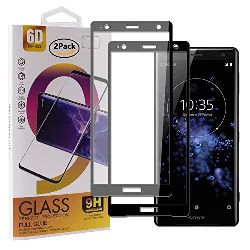 Guran [2 Stück Gehärtetes Glas Displayschutzfolie für Sony Xperia XZ2 Premium Smartphone Full Coverage HD Schutzfolie Film Kompatibel Panzerglasfolie - Schwarz