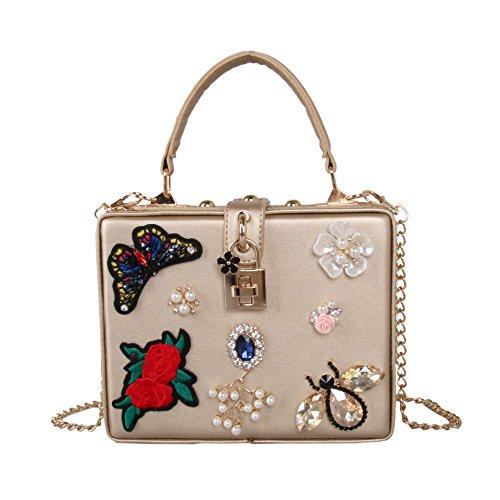 Frauen Butterfly Stickerei Abendessen Tasche Luxus Perlen Blüte Diamond Handtasche Schultertasche Gold