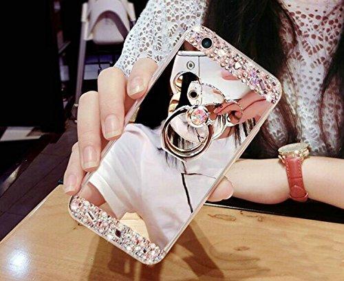 iPhone 7Coque, i7Coque, iPhone 7doux TPU Coque, iPhone 7clair TPU Coque, CE iPhone 7g Cristal Clair Bling Sparkle Fée Ange Fille étoiles Ultra fin Cadre Flexible en silicone souple en TPU Bumper  A8 Mirror Bear Ring 3