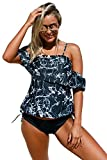 #9: Boldgal Women's Swimwear Strappy Solid Tankini (Black_Large)