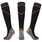 Lmycrs-SP Sportkompressionsstrümpfe DREI Paare atmungsaktive schweißabsorbierende Wadenstrümpfe mit Fußball-Fitness-Socken und gleichmäßigen Fingersocken (Farbe : Orange, Größe : L/XL)