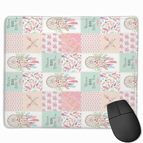 Blocks- Dream Catcher Patchwork Quilt Top (rotated) Patchwork Wholecloth for Girls Baby Blanket Nursery Bedding_56938 Mouse pad Custom Gaming Mousepad Nonslip Rubber Backing 9.8
