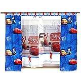GMC-1 DISNEY Kindergardine für Jungen / Kinder mit Motiv CARS für Kinderzimmer / Jungenzimmer / Vorhänge blau