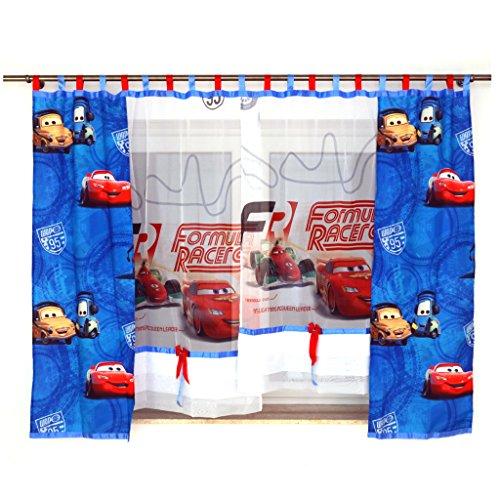 MB GMC-1 Disney Kindergardine für Jungen/Kinder mit Motiv Cars für Kinderzimmer/Jungenzimmer/Vorhänge Blau