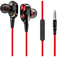 pTron Boom Evo 4D in-Ear Dual Driver Wired Headphones with Mic - (Black & Red)