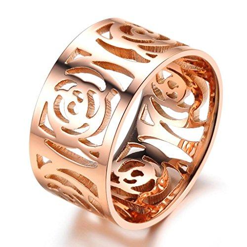 bigsoho Mode Schmuck ausgehöhlte Kamelie Blume in Rosegold Edelstahl Ring für Damen Mädchen