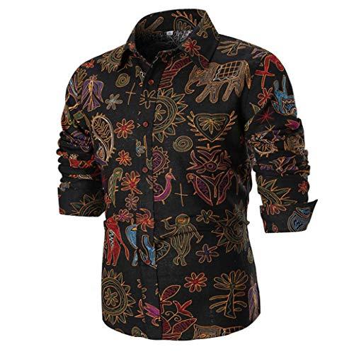 UJUNAOR Persönlichkeit Männer Sommer Casual Slim Fit Langarm Gedrucktes Hemd Top Bluse M bis 4XL(2XL,Schwarz)