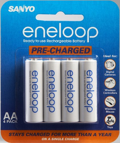 Sanyo Eneloop AA NiMH Pre-Charged Rechargeable Batteries - 4 Pack (Discontinued by Manufacturer)  available at amazon for Rs.3092