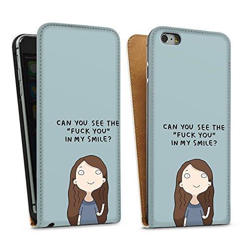 """artboxONE Handyhülle Apple iPhone 6, weiß Hard-Case Handyhülle """"fuck you Case"""" - Comic - Smartphone Case mit Kunstdruck hochwertiges Handycover von Lingvistov Downflip Case weiß"""