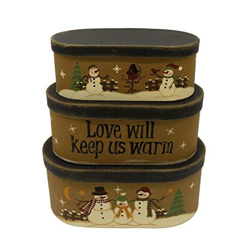 CVHOMEDECO. Cajas de nido de cartón ovaladas rústicas vintage Love Will Keep Us Warm, tamaño grande, 22,86 cm x 12,7 cm x 10,16 cm, juego de 3.