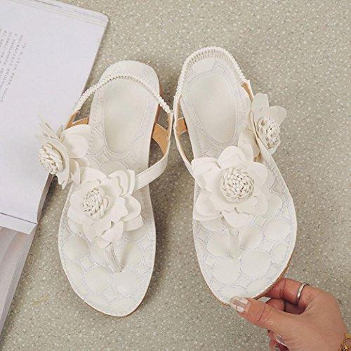 HCFKJ 2017 Mode Frauen Flache Schuhe Blumen Bohemia Leisure Sandalen Peep-Toe Flip Flops Schuhe Weiß
