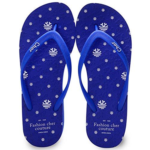 Pente avec sandales à talons hauts à bascule --- Chaussons en caoutchouc pour femmes Chaussons en Europe Chaussures de plage antidérapantes Blanc Bleu Vert Rose --- Herringbone fashion sweet Sandals Bleu
