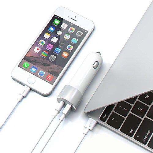 Satechi Caricabatteria Adattatore da 48 W per Auto con USB tipo C Ricarica Rapida e USB A compatibile con iPhone X/8 Plus/8, MacBook 12 pollici, iPad Pro, Nexus 5X/6P, Samsung S8, Nintendo Switch e Altri (Argento)