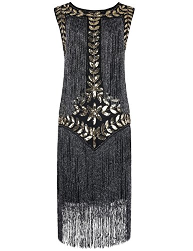 (Kayamiya Damen Great Gatsby Kleid 1920er Paillette Quaste Charleston Kleider S Gold Silber)