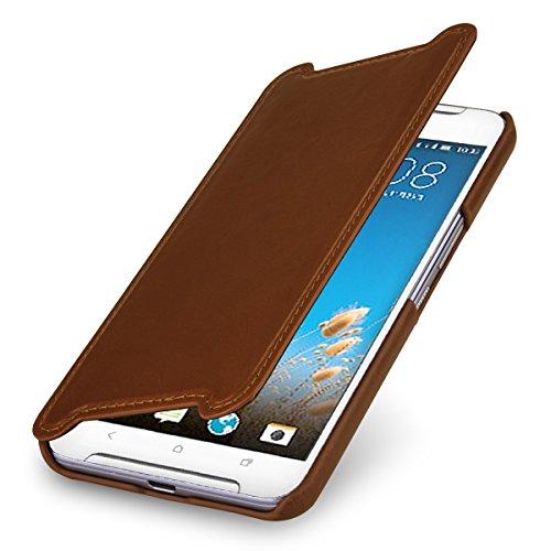 StilGut Book Type Case, Hülle Leder-Tasche kompatibel mit HTC One X9, Cognac
