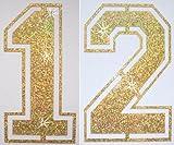 Stoff Pailletten Paar Fußball Zahl Bügelbild gold 12