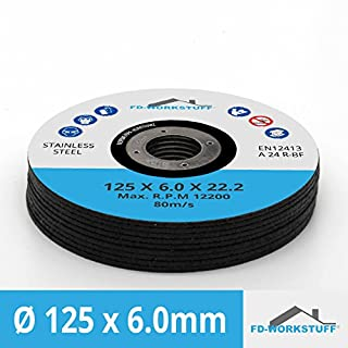 5 Stück Schruppscheiben Metall INOX ø125 x 6 mm für Winkelschleifer