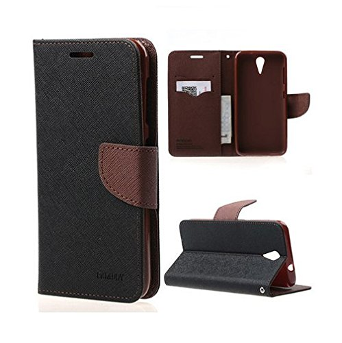 Cubezap Mercury Goospery Fancy Diary Card Wallet Flip Case Back Cover for HTC Desire 620 620G - Brown Black