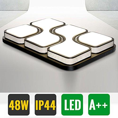 Hengda® Modern Schlafzimmerleuchte 48W LED Deckenlampe Rechteckig Warmweiss IP44 Esszimmer Lampen Schwarz Küchenlampe Flurlampe [Energieklasse A++]
