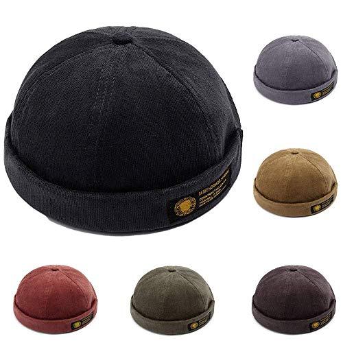 YAMEE Docker-Cap Docker Mütze Seemannsmütze Hafenmütze Bikercap Basecap ganzjährig Tragbar Hat (Schwarz)