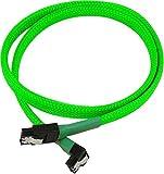 Nanoxia900800032 SATA 3.0 Anschlusskabel, Abgewinkelter Stecker, Sicherheitslasche, 60 cm, Neon-Grüner Sleeve