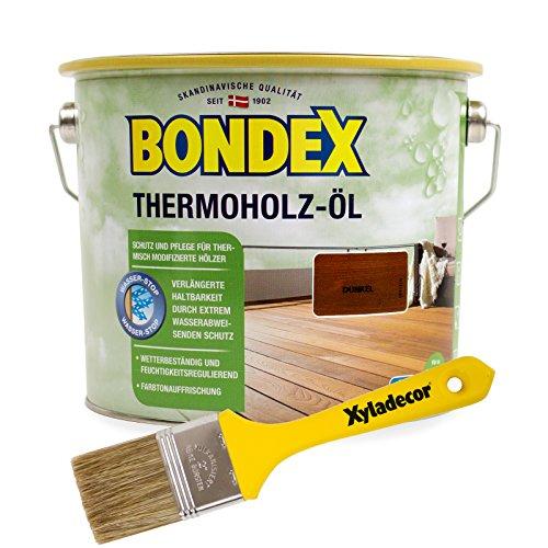 Bondex Terrassenöl 2,5 Liter, dunkel (Bangkirai und andere dunkle Hölzer) inkl. gratis Xyladecor Pinsel