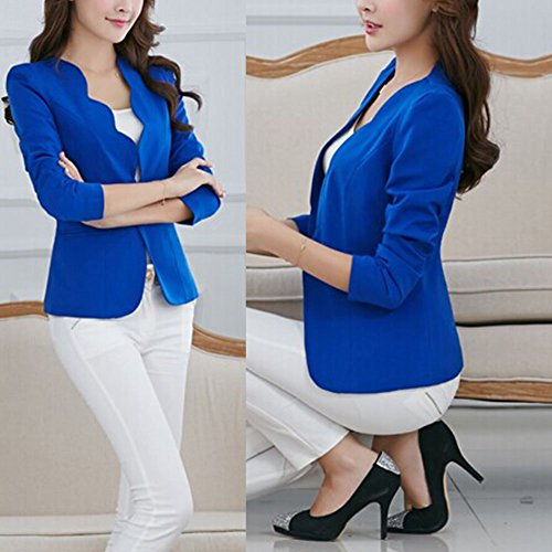 Etosell Femmes Travail De Couleur Candy Blazer Veste Jacket Bleu Fonce