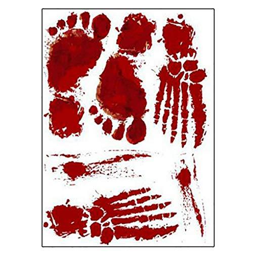 sma Sangre Rojo Pegatina de la huella Pegatinas de Halloween de miedo Decoración de puertas y ventanas 35x25 cm ()