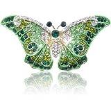EVER FAITH® österreichischen Kristall Schmetterling Art Deco Brosche - lila-Silber-Ton A05064-5