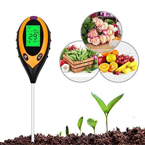 Digitale LCD-Anzeige 4 in 1 Bodentester Boden test Bodenmessgerät Bodenfeuchtigkeitsmessgerät Boden PH-Wert Temperatur Luftfeuchtigkeit Sonnenlicht für innenbereich/Außenbereich Wasser Licht Test