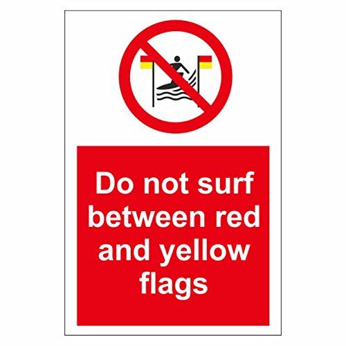 Nicht Surf zwischen Rot und Gelb Flaggen Schild aus Aluminium–Zeichen für Post (Kanal auf der Rückseite), 210 x 297mm (A4) (Surf Wall Sign)