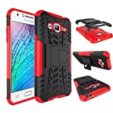 MYTHOLLOGY Galaxy J3 Coque - Samsung Galaxy J3 (2016) J320F Coque - Coque Antichocs Video Béquille Double Couche Protection Etui Housse Cover [Rouge]