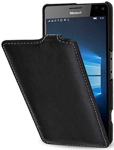 StilGut UltraSlim Case, Hülle aus Leder für Microsoft Lumia 950 XL / 950 XL Dual SIM, Schwarz Nappa