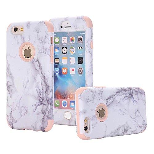 Mit Gebaut Fernglas Kamera (iPhone 6/6S Hülle, MUTOUREN 3 in 1 Silikon Schutzhülle mit Marmor Muster Bumper Case Anti Scratch Handyhülle für iPhone 6/6S (4,7 Zoll) (Weiß/Rosegold))