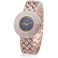 Leopard Shop WEIQIN W4243 Female Quartz Watch Stainless Steel Band Wristwatch Artificial Crystal Diamond Dial #4