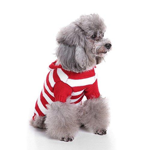 Suéter de perro para mascotas de otoño invierno cálido jersey ropa con capucha rayas suéter ropa para perros pequeños y medianos gatos