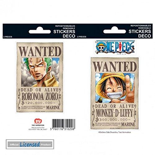 One Piece Paquet De Stickers - Wanted Luffy, Zoro (15 x 10 cm)